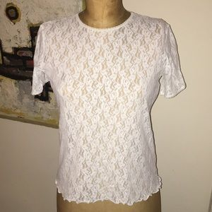 Vintage white lace sheer top size small